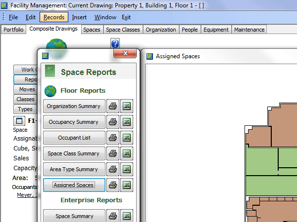Facility Management Space Reports