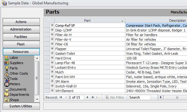 Maintenance Management Search Screenshot